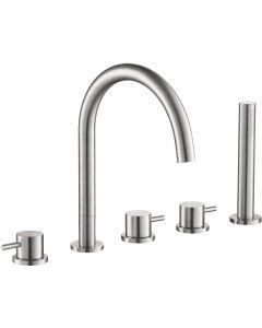 Linox 5-delige badrand inbouwkraan RVS, compleet met uitneembare handdouche
