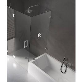 Ben Tess Zijwand t.b.v. douchedeur voor bad met vierkant scharnier 30-130x140 cm Chroom / Helder Glas